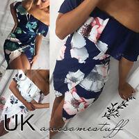UK Womens Bandeau Holiday Dress Ladies Summer Floral Split Mini Dress Size 6-14