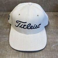 VTG Titleist Golf New Era Hat Strapback Baseball Cap White Cream Green USA NOS