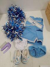 American Girl retired go team! Cheer gear outfit set blue pom poms 2008 hair pik