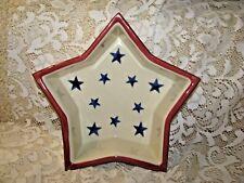 HARTSTONE POTTERY STAR CANDLE BOWL BAKING DISH MOLD Patriotic Blue Stars