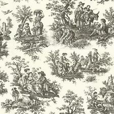 Wallpaper Waverly Designer Country Life Large Toile Black on Off White Backgrou