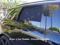 Groovy Car Sun Shades PORSCHE CAYENNE MACAN. 4-PCS Rear Door Windows Mesh.