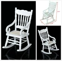 1:12 Dollhouse Miniature Furniture White Wooden Rocking Chair Hemp Rope Seat
