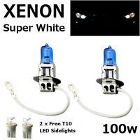 H3 100w SUPER WHITE XENON (453) Head Light Bulbs 12v + 501 LED Sidelights