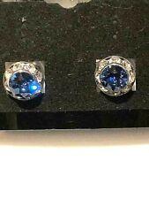 Swaroski Crystal Sapphire Blue Pierced Button Type Earrings Small Size