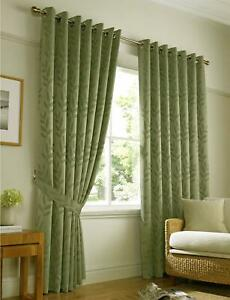 Tivoli Ring Top Lined Curtains Sage Green