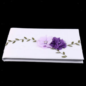 White Satin Purple Flowers Guest Book Wedding Signing Book Party Decor