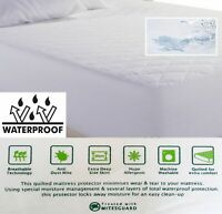 Waterproof Quilted Mattress Protector Deep Fitted Non Allergic 10 Size Available