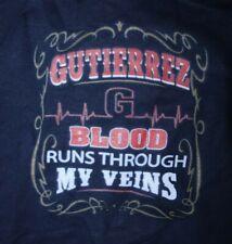 GUTIERREZ BLOOD RUNS THROUGH MY VEINS Hoodie Sweatshirt  Medium, Blue