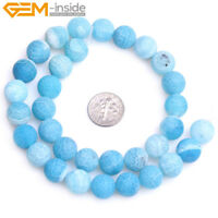 "Round Frost Blue Agate Gemstone Jewelry Making DIY Beads Strand 15"",Size Select"