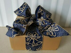 Bells Navy Blue Christmas Ribbon * Bows Gold Wired Edge * Sparkly Wedding Craft
