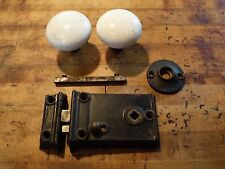 Mallory Wheeler & Co. Cast Iron Rim Lock Set White Porcelain Door Knobs