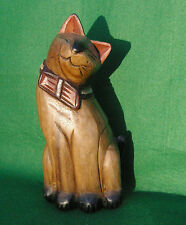 CARVING OF A SITTING CAT WITH BOW TIE  IN STAINED AND PAINTED WOOD #3