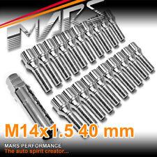 20x Chrome MARS wheels M14 x 1.5 40mm Ultra slim 7 spline Lock Bolts for Spacers