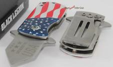 United Black Legion American Flag Spring Assisted Money Clip/Boot/Pocket Knife