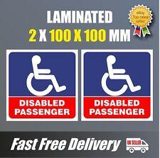 2 X PASSEGGERO disabile Blue Badge Holder Auto Adesivo Vinile Decalcomania 100 mm parcheggio