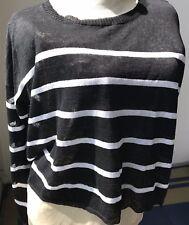 Eileen Fisher Sz L Large layering sweater LS organic b&w stripe linen blnd knit