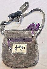 Juicy Couture Gray Velour Purple Small Cross Body Messenger Shoulder Purse Bag