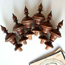 antique turned wood finial Set of 6 French furniture architectural salvage 5.24""