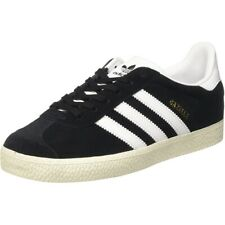 adidas Originals Gazelle J Black/Gold Metallic/White Suede Junior Trainers Shoes