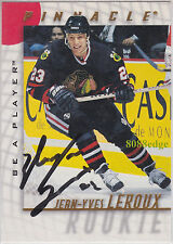 1997-98 BE A PLAYER AUTO: JEAN-YVES LEROUX #45 ON CARD AUTOGRAPH BLACKHAWKS