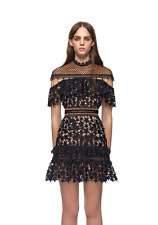 AUTHENTIC Self Portrait Yoke Frill Star Mini Black Dress  + TAG (US2 or US6)