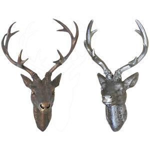 Hirschgeweih Geweih silber / bronze Hirschkopf 10 Ender Wanddeko 3 Größen