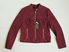 $120 Cavalini Quilted Faux-Suede-Leather-Fur Motorcycle Coat Embroidery Jacket M