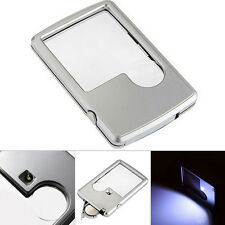 Portable Ultra Thin 3X 6X LED Credit Card Pocket Magnifier Loupe Reading Tools