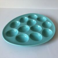Deviled Egg Dish Contemporary Holds 12 Eggs Oval Egg Shape Green Microwave Safe