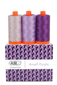 Aurifil 50 WT Colour Blenders Amalfi Purple set of 3 x 1300 spools