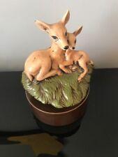 vintage Narco Japan Porcelain deer music box Wind Up