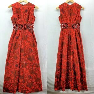 Vintage Red Maxi Dress w Floral Cut Out Waist Small Mod Handmade See Meas