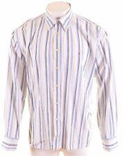 TOMMY HILFIGER Mens Shirt 2XL Blue Striped Cotton  MN14