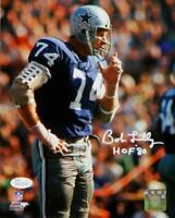 Bob Lilly Autographed Dallas Cowboys 8x10 Standing PF Photo With HOF- JSA W Auth