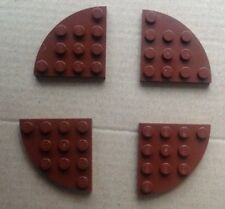 4 X LEGO 30565 Marrone 4X4 Piastra Angolo arrotondato. le serie dal 7607, 7186, 10024, ecc.