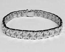 "14kt Solid White Gold Handmade Fashion Nugget Bracelet 9 mm 25 grams 7"""