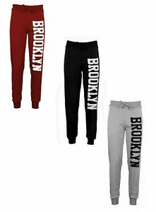 New Womens Brooklyn Side Print Bottoms Joggers Tracksuit Casual Jogging Trousers