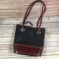 Womens Handbag Brighton Vintage Brown Black Leather Bucket Bag Purse Moc Croc