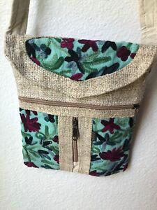 NWT Embroidered Hippie Eco Frendly THC Free PURE Hemp Side BAG Adjust Nepal SB21