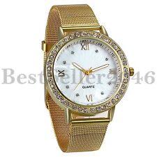 Luxury Men Women Gold Tone Stainless Steel Watch Rhinestone Quartz Wrist Watches