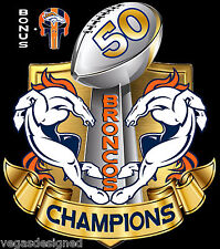 "Denver Broncos SUPER BOWL 50 CHAMPIONS Decal Sticker FULL COLOR Car 7"" DBC2BKS-7"