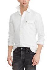 Ralph Lauren Polo Skull / Crossbones Button Down Shirt Pocket White LS XL