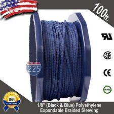 "100 FT 1/8"" Blue & Black Expandable Wire Sleeving Sheathing Braided Loom Tubing"