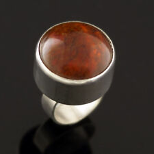 Danish Silver Ring w/ Amber - N. E. From - VINTAGE