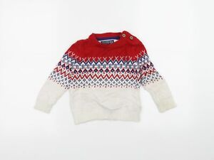 Joules Boys White  Knit Pullover Jumper Size 2-3 Years  - Christmas