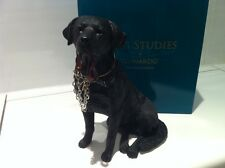 Black Labrador Retriever Dog 'Sitting Walkies' Ornament Gift Figure Figurine