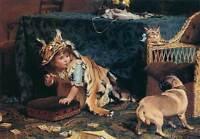 Art Oil painting Charles Burton Barber Monster little girl with her pet dog cat