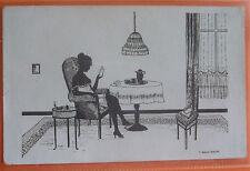 MANNI GROSZE ART DECO Postcard c.1910 LADY READING