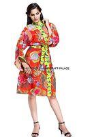 Red Floral Print Vintage Cotton Robe Dressing Gown Wedding Bride Indian Kimono